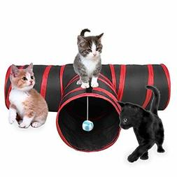 Creaker 3 Way Cat Tunnel Collapsible Pet Toy with Ball for P