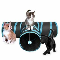3 Way Cat Tunnel, Creaker Collapsible Pet Toy Tunnel with Ba