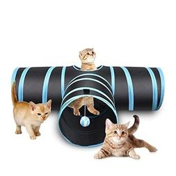 Creaker 3 Way Cat Tunnel, Collapsible Pet Toy Tunnel with Ba
