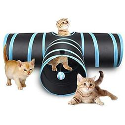 Creaker 3 Way Cat Tunnel, Collapsible Pet Toy With Ball For