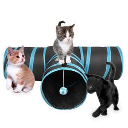 3 Way Cat Tunnel Creaker Collapsible with Ball for Puppy Kit