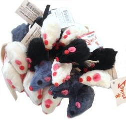 30 Realistic Cat Toy Furry Mice, White, Gray and Black by Za
