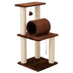 """33"""" Cat Tree Scratching Post Activity Sisal Bed Toys Climbin"""
