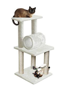 33 White Pet Cat Tree Play Tower Bed Furniture Scratch Post