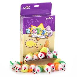 """36PCS 1.8"""" Rattle Cat Toys Fur Mice Colorful Furry Small Mou"""