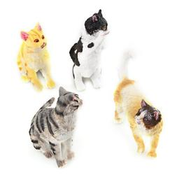 Dimart 4 New Hard Plastic Cats Figures Set Toy Kid Children