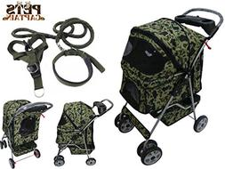 Premium Quality 4-Wheel Pet Carrier Stroller For Cat & Dog B