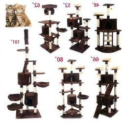 """48""""52""""62""""66""""80""""101"""" Pet Cat Tree Play House Tower Condo Bed"""
