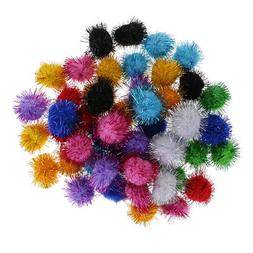 50 GLITTER POM POM BALLS 35mm Sparkly Small Puff Kitten Cat