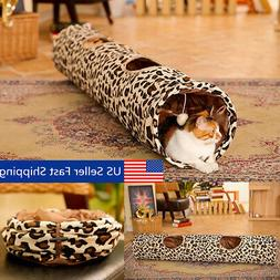 "51"" Foldable Pet Cats 2 Holes Tunnel Leopard Print Cat Kitte"