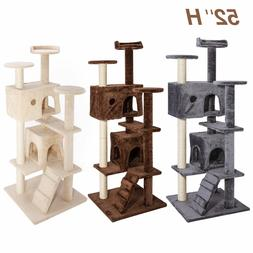 """52"""" Pet Cat Tree Tower Condo Furniture Scratching Post Toy K"""