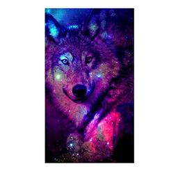 FORESTIME 5D Diamond Painting, Colorful Wolf Diamond Embroid