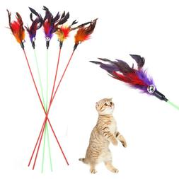 5pcs Cat Play Feather Teaser Small Bell Type Cat Toy Ultra l