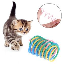 5pcs cat toys colorful plastic spring bounce