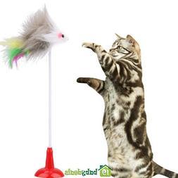 5pcs Funny Pet Cat Toys Feather Plush Mouse Mice Rat Bottom