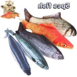 5X Realistic Fish Cat Funny Crazy Toy Catnip Pet Toys Intera