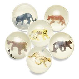 6 Clear Bouncy Balls with Animals - Mini Rubber Bouncing Bal