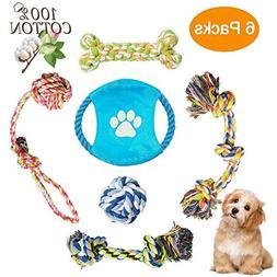 ADOGO 6 Dog Chew Toys Puppy Teething Toy Training Rope Ball