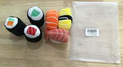 Ciyvolyeen 6 Pack Sushi Cat Toys W/ Catnip Sushi Roll Pillow
