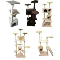 "60""/52"" Cat Tree Play House Tower Condo Furniture Scratch Po"