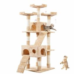 """64"""" Brown White Pet Cat Tree Play House Tower Condo Bed Sc"""