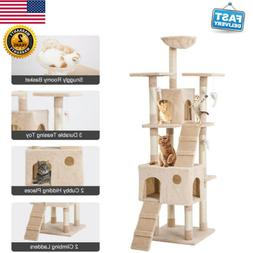 """68"""" Kitty Cat Tree Furniture Bed Scratcher Condo Gym Tower P"""