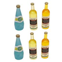 Livoty 6Pcs Miniature Dollhouse Accessories Mini Wine Bottle
