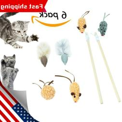 6Pcs/set Cat Interactive Toys Knit Funny Cat Charmer Wand Wi