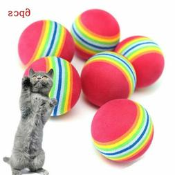 6X Pet Toys Cat Kitten Soft Foam Rainbow Play Balls Colorful