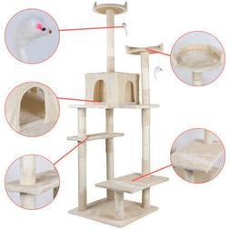 "72.5"" Cat Tree Condo Furniture Scratch Post Pet Play House M"