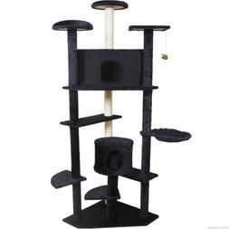 """80"""" Cat Tree Condo Furniture Scratch Post Pet House Beige/Na"""