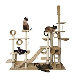 "96"" Tan White Cat Tree Play House Gym Tower Condo Scratch"