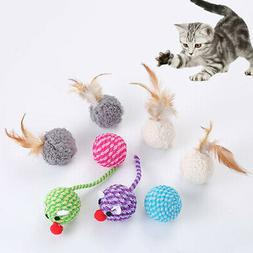 9PC Fun Kitten Toy Cats Feather Bell Wand Teaser Rod Bead Pl