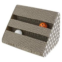 ANG Cat Scratching Pad Toy with Inside Bell-Balls, Small-Two