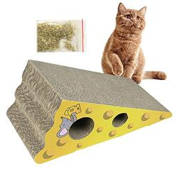 Aolvo Incline Cat Scratcher Cardboard Cheese Shaped with Cat