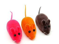 BECKY,5 Set of Rainbow Mice Cat Toys with Real Rabbit Fur Th
