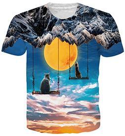 Belovecol Women Mens Cat Tshirts 3D Print Funny Graphic Tees