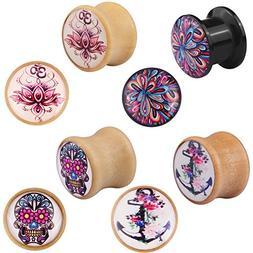 Bigbabybig 4 Pairs Skull Flower Earrings Ear Plugs Tunnels W
