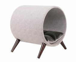 Cat Craft 4308601 Tunnel Bed, Grey and Brown Wooden Legs Cat