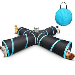 Creaker 4 Way Cat Tunnel Collapsible Pet Play Tunnel Tube To