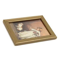 Dollhouse Miniature Frame Girl and Cat Mural Wall Painting 1