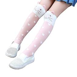 Girls Knee High Socks Kids Cotton Catroon Animal Over Calf S