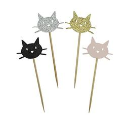 Kitty Cat Cupcake Toppers Shiny Black Gold Silver and Pink C