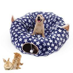 Large Cat Dog Tunnel Bed with Washable Cushion Big Tube Toys