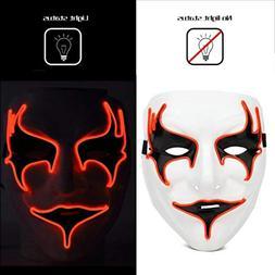 Livoty Halloween Mask Fashion Led Party Halloween Neon Lumin