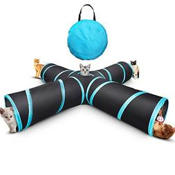 Myguru Cat Tunnel, Upgraded Collapsible 4 Way Crinkle Cat To