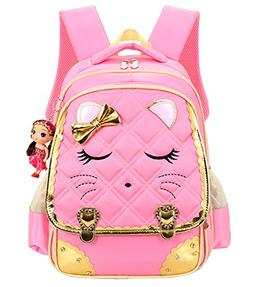 Mysticbags Cat Face Waterproof Kids Backpack School Book Bag