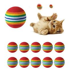 PAPRING Cat Toy Ball 10Pcs Colorful Cat Toy Ball Interactive