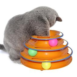 PAPRING Cat Toys Pet Cat Toy Teaser Three layers Tower of Tr