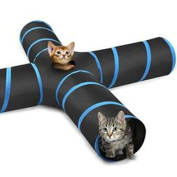 PAWABOO Cat Tunnel, Premium 4 Way Tunnels Extensible Collaps